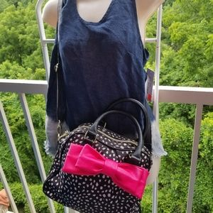 Betsey Johnson Polka Dot Pink Bow Bag